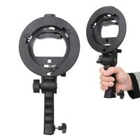 S-Type Bracket Handheld Grip Mount Holder W/Handle Fr Speedlite Flash Softbox HD