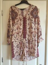 Gorgeous BNWT ZARA Peach Nude Printed 3/4 Sleeve Playsuit Size M