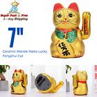 Feng Shui Maneki Neko Lucky Cat Waving Hand Wealth Lucky Cat Ceramic 7 Inches