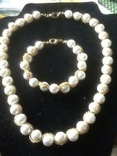 Pre-Owned Faux Pearl Necklace/ Matching Bracelet Gold Tone Rope Trim
