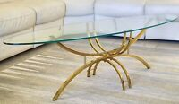 MID CENTURY SURFBOARD SHAPE/ BRASS & GLASS COCKTAIL TABLE-HOLLYWOOD GLAM ERA!!