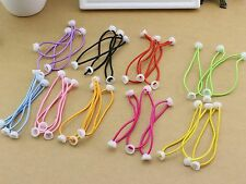 50 Mixed Color Elastic Rubber Hair Bands Rope with White Bowl Pad Craft Diy