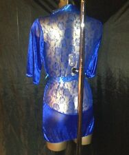 NEW BLUE ROBE SHEER SILKY SLIPPERY SOFT NYLON WITH LACE INCERT SIZE MED LARGE