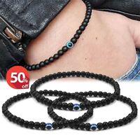 Evil Eye Black Onyx Bead Real Stone Mens Stretch Elastic Bracelet