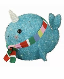 Tinsel Narwhal Whale Sculpture Christmas Indoor/Outdoor NEW