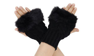 Women Vegan Faux Fur Fingerless Gloves Furry Warm Winter Arm warmers UK STOCK!!!