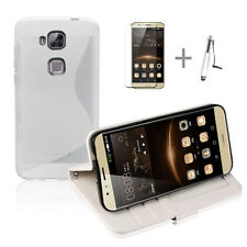 WHITE Wallet 4in1 Accessory Bundle Kit TPU Case Cover For HUAWEI G8