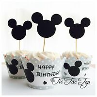 12x Mickey Mouse Cupcake Toppers + Wrappers. Party Supplies Lolly Loot Bag