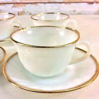 Anchor Hocking Fire King Teacup & Saucers Set of 4 Gold Trimmed Milk Glass USA