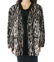 Ming Wang Women's Jacket Black Size 1X Plus Leopard Print Open Front $325 #896