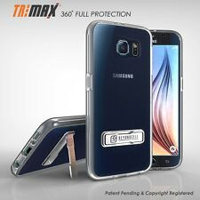 For Galaxy S6 SM-G920 TriMax® Clear Slim 360°Full Body Protection Kickstand Case