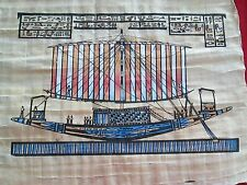 Egyptian Hand-painted Papyrus Art: Hieroglyphic Ship Scene -