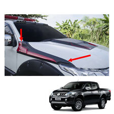 Side Hood Guard Cover Trim Black Red 2 Pc Fit Mitsubishi L200 Triton 2015 - 2017