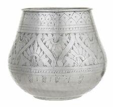 Amalfi Anvi Metal Handmade Faux Plant Vase/Planter Antique Silver 25x29cm