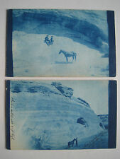 2 Rare Cyanotype UDB Postcards Men Horse Mountain; 1906 Grand Junction CO Cancel