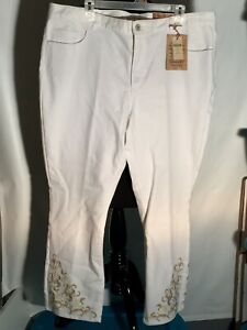 New Coldwater Creek Womens Classic Fit Size 18 White Embroidered Floral Jeans
