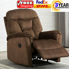 Overstuffed Velvet Recliner Chair Backrest Footrest Padded Wide Seat Sofa Brown