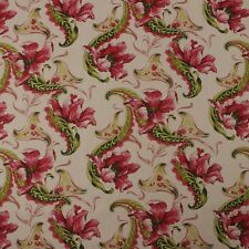 Designer Falling Flowers Magenta Pink 100 Linen Multiuse Fabric By Yard 56 W