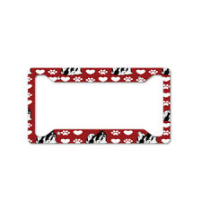 Shih Tzu Dog Red Paw Heart Auto Car License Plate Frame Tag Holder 4 Hole