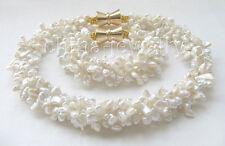 "P5261-18""+8"" one set 5row white Reborn Keshi freshwater pearl necklace +bracelet"
