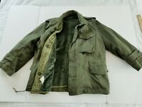 Vintage Army Green Field Jacket Military Cold Weather Coat  USA MEDIUM M