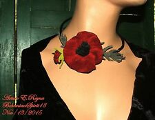 ARTURO E.REYNA RED POPPY FLOWER LEATHER SIGNED ONE OF A KIND CHOKER NECKLACE