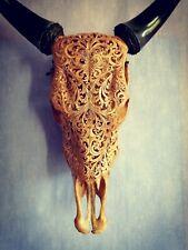 Authentique crâne de taureau sculpté