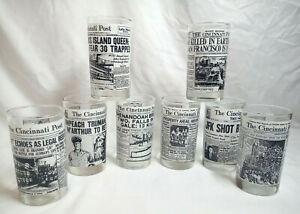 Vintage 8 Libbey Glass US History Cincinnati Newspaper Headline Glasses 10 oz