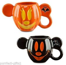 DISNEYLAND HALLOWEEN MICKEY & MINNIE COFFEE TEA MUG SET MOUSE~NEW~JACK O LANTERN