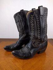 VTG Tony Lama Black Cowboy Boots Shoes Mens 10 1/2 D USA Leather Bull Riding