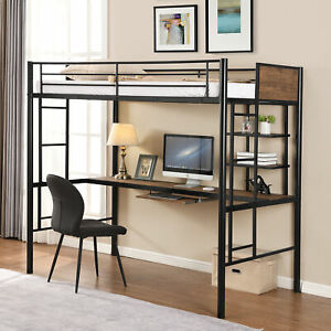 Loft Bed with Desk and Shelf Space Saving Design Fashionable and Comfortable Bed