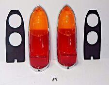 New Pair Lucas Tail Lamp Lens Set + Chrome Rims Etc MG Midget 1963-69 Euro Amber