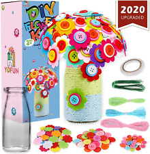 YOFUN Flower Craft Kit for Kids - Make Your Own Flower Bouquet with Buttons and