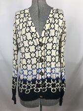 Tory Burch Cotton Cardigan Blue Black Print Long Sleeve Sweater Size M