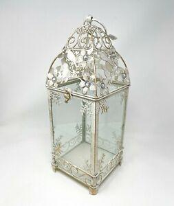 Antiqued White Floral Jewels Decorative Metal Lantern Candle Holder Pier 1