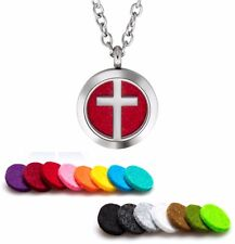 Aromatherapy Essential Oil Diffuser Necklace Pendant Stainless Steel Cross
