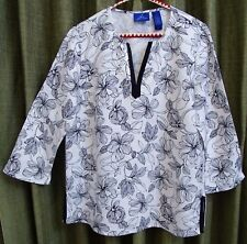 """Black and White Linen Top M Medium L Large Looks NEW Bust 40"""" Blouse 3/4 sleeves"""