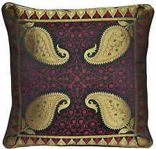 """INDIAN 16"""" Scatter Cushion Covers Antique Style Banarasi Silk Gold Black Red New"""