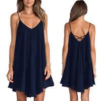 Women Ladies Sexy Spaghetti Strap Mini Dress Summer Beach Short Dress Plus Size