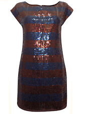 NEW FRENCH CONNECTION BRONZE & BLUE LONG LINE SEQUIN CHRISTMAS PARTY TOP £195