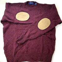 Vtg Pendleton Mens Sweater Crew Neck Elbow Patch Shetland Virgin Wool Maroon L