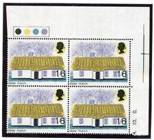 1970 1/6d Architecture PHOSPHOR OMITTED Traffic Light block x4 U/m SG 818Ey