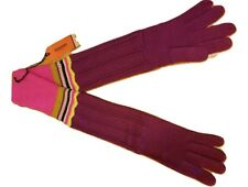 NWT MISSONI Knit Wool Blend Long Elbow Length GLOVES - Chevron Purple Pink