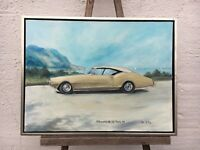 Oldsmobile of Monte 1968 Classic Car at Mediterranean - Oil Painting 1988 Signed