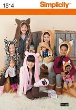 Simplicity SEWING PATTERN 1514 Childs & Dolls Novelty Animal Hats