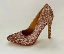 GLAZE Women's Glitter Pointed Toe 4in Stiletto High Heels Pumps - Rose Gold