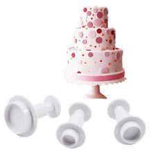 3 Pcs Runde Kuchen-Fondant Sugar Dekoration Mold Cutters Plunger Mould Set