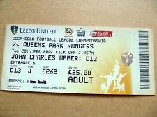 Tickets- 2007 LEEDS UNITED v QUEENS PARK RANGERS, 20 Feb