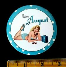 """Sexy Risque Pin-up Girl Miss August Portable Radio Sunglasses 3"""" Pocket Mirror"""