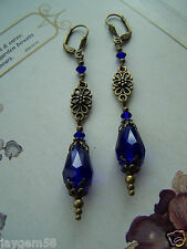 VINTAGE STYLE BLUE LONG DROP EARRINGS Swarovski elements Cobalt Regency
